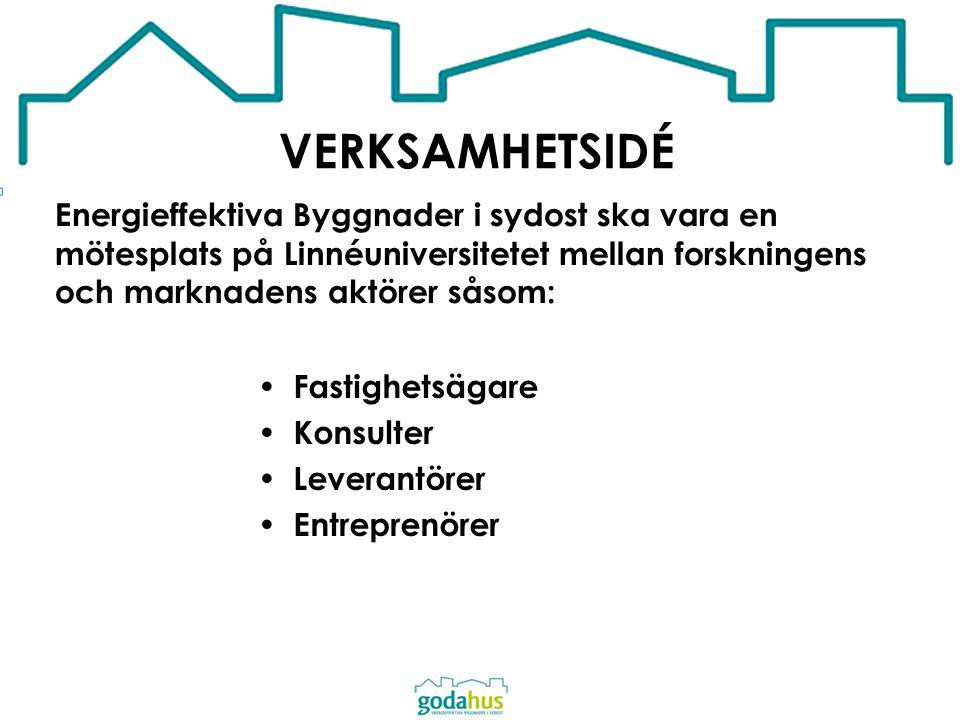 VERKSAMHETSIDÉ Energieffektiva Byggnader i sydost ska vara en mötesplats på Linnéuniversitetet mellan forskningens och marknadens aktörer såsom: