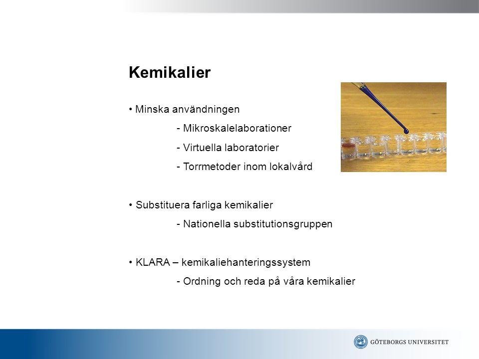 Kemikalier • Minska användningen - Mikroskalelaborationer
