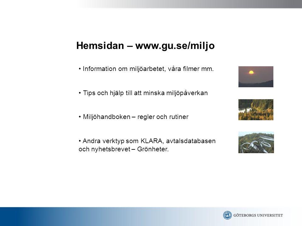 Hemsidan – www.gu.se/miljo
