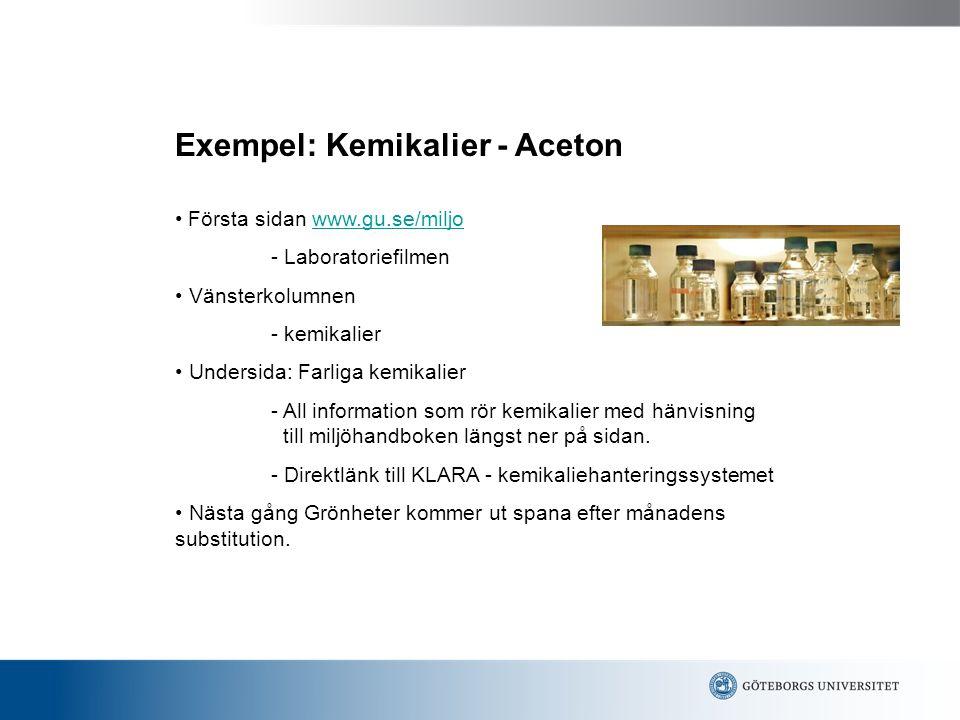 Exempel: Kemikalier - Aceton