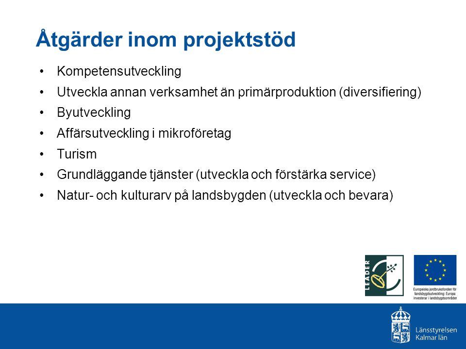 Åtgärder inom projektstöd