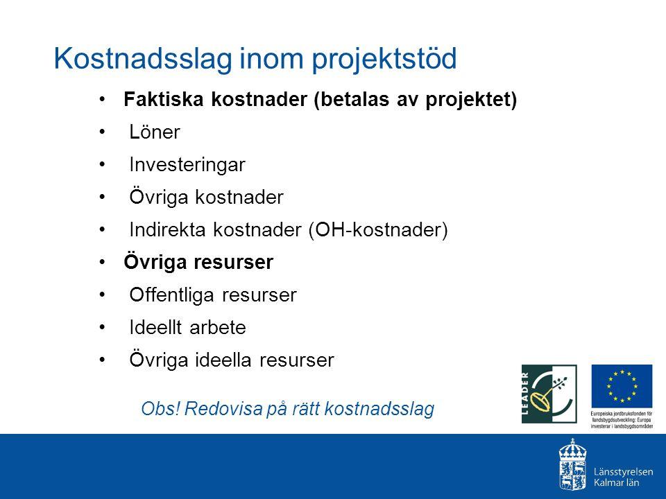 Kostnadsslag inom projektstöd