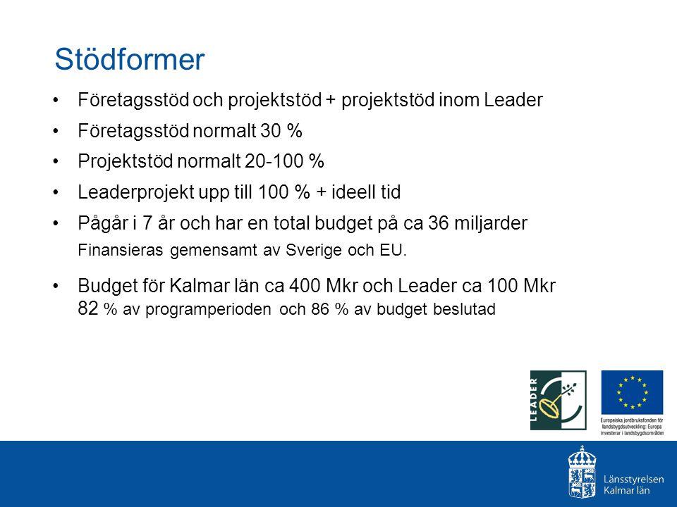 Stödformer Företagsstöd och projektstöd + projektstöd inom Leader