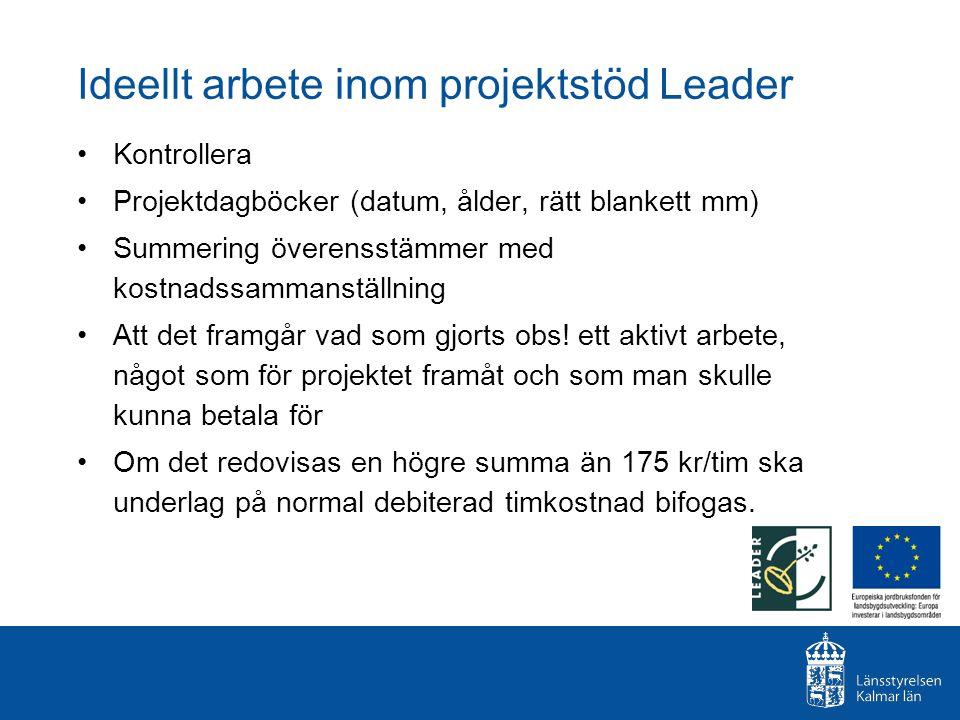 Ideellt arbete inom projektstöd Leader