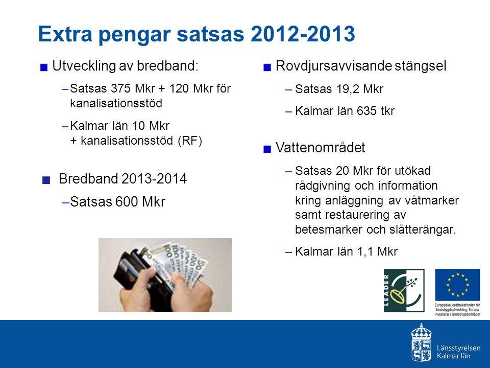 Extra pengar satsas 2012-2013 Utveckling av bredband: