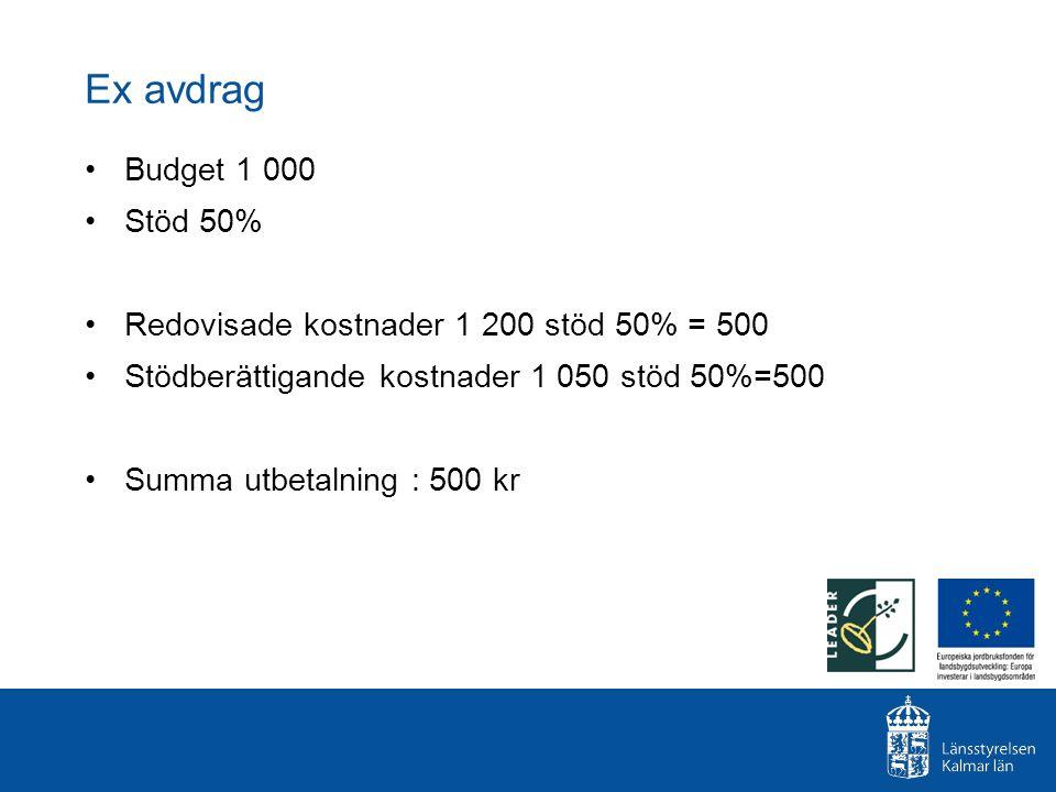 Ex avdrag Budget 1 000. Stöd 50% Redovisade kostnader 1 200 stöd 50% = 500. Stödberättigande kostnader 1 050 stöd 50%=500.
