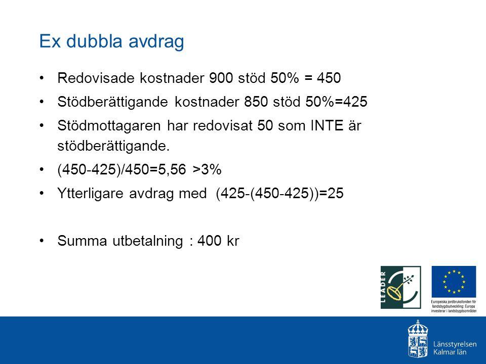 Ex dubbla avdrag Redovisade kostnader 900 stöd 50% = 450