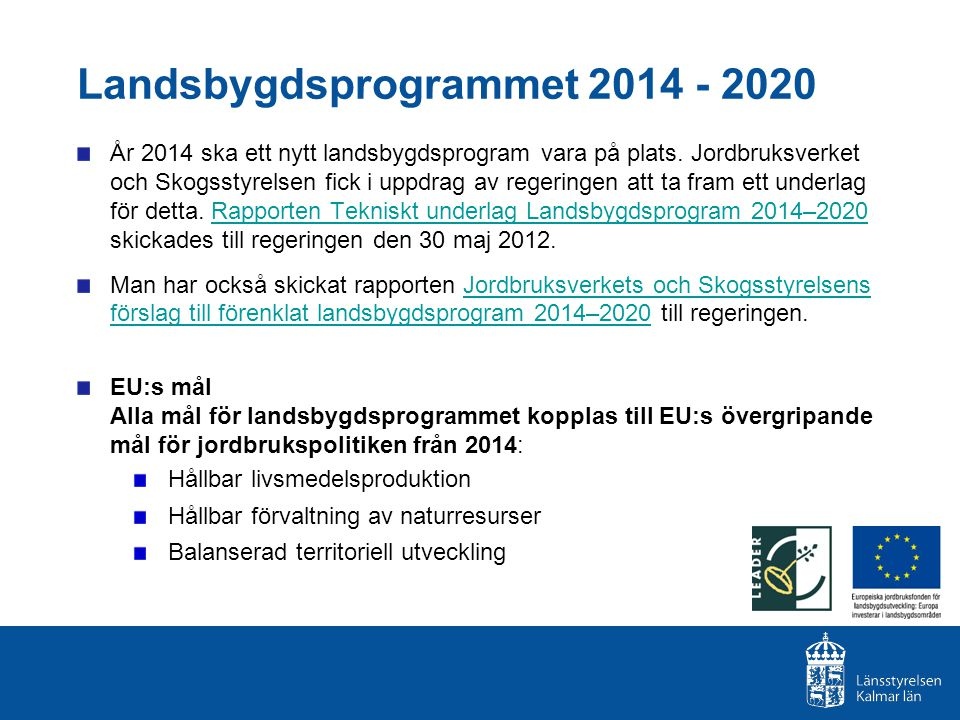 Landsbygdsprogrammet 2014 - 2020