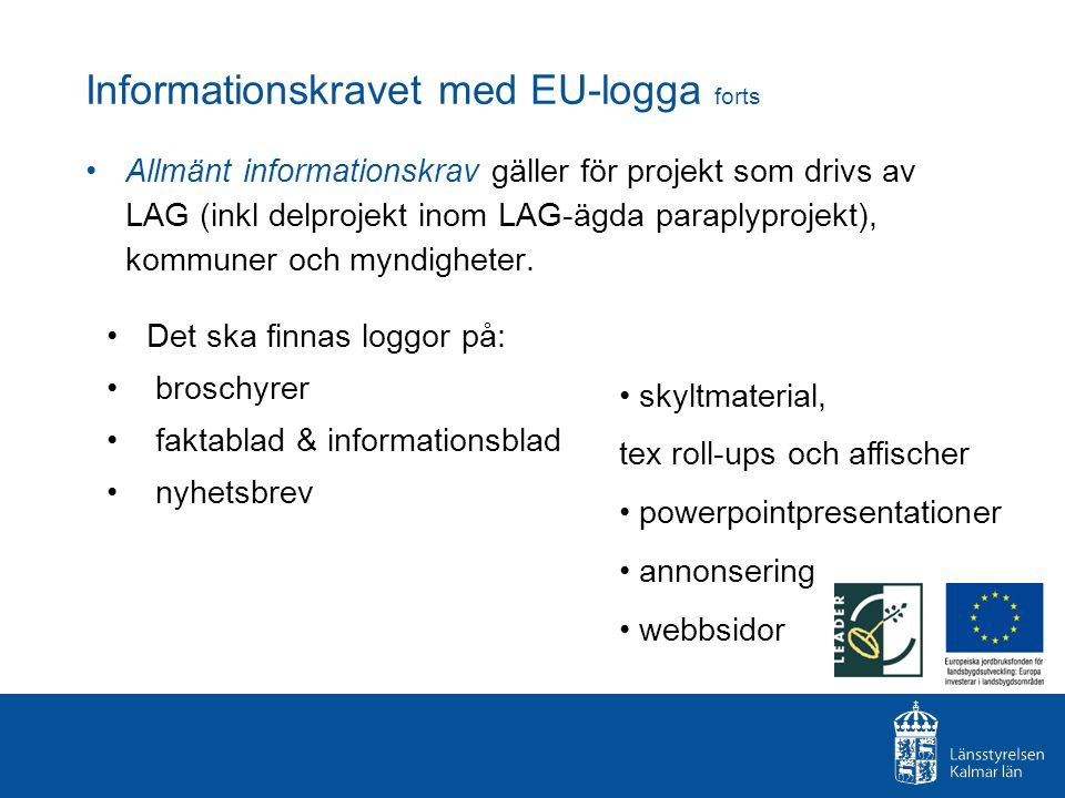 Informationskravet med EU-logga forts