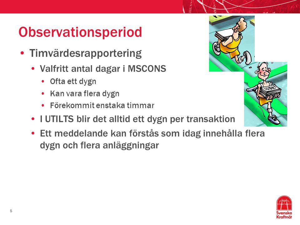 Observationsperiod Timvärdesrapportering Valfritt antal dagar i MSCONS