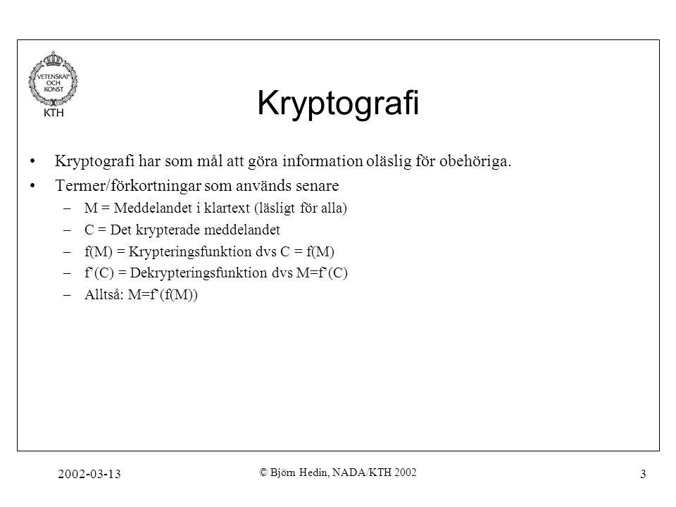 Kryptografi Kryptografi har som mål att göra information oläslig för obehöriga. Termer/förkortningar som används senare.