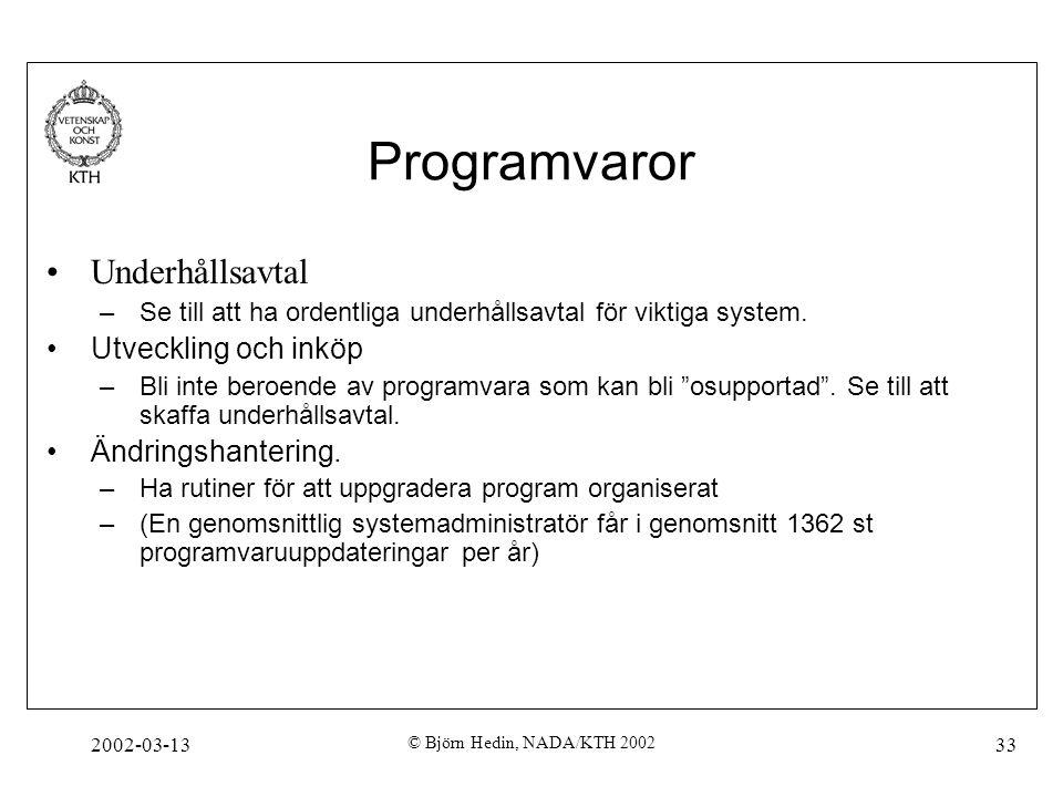 Programvaror Underhållsavtal Utveckling och inköp Ändringshantering.