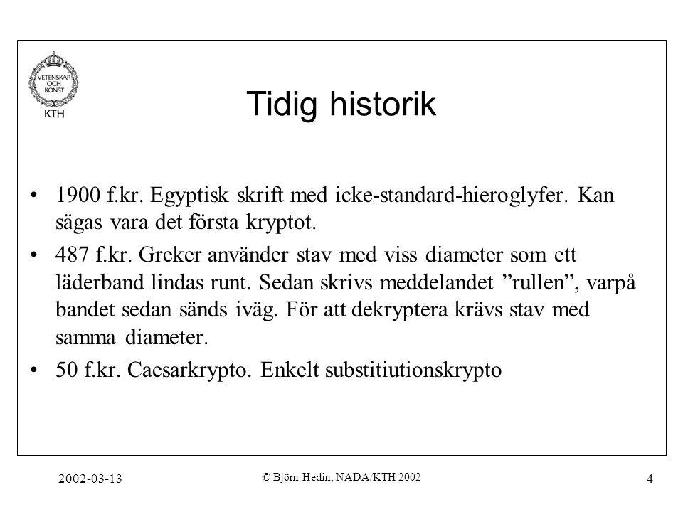 Tidig historik 1900 f.kr. Egyptisk skrift med icke-standard-hieroglyfer. Kan sägas vara det första kryptot.