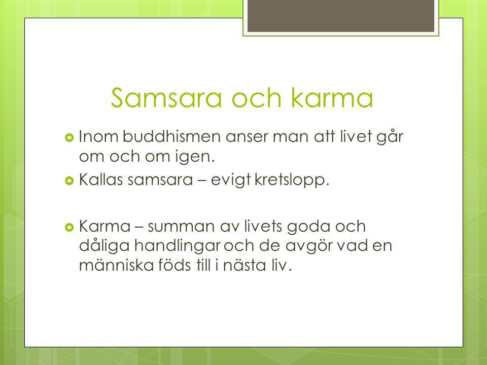 Samsara och karma Inom buddhismen anser man att livet går om och om igen. Kallas samsara – evigt kretslopp.
