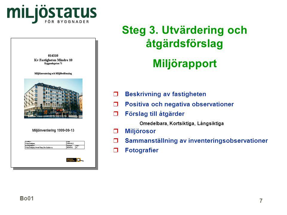 Steg 3. Utvärdering och åtgärdsförslag