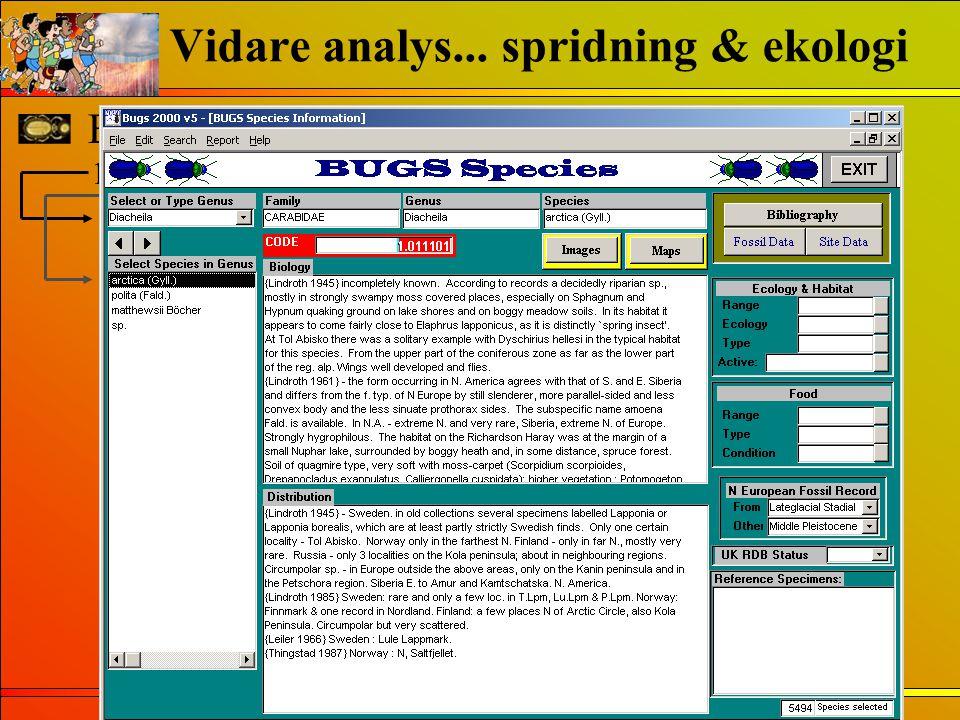 Vidare analys... spridning & ekologi