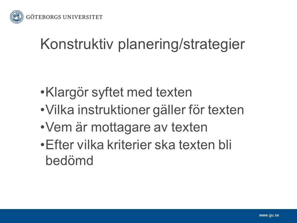 Konstruktiv planering/strategier
