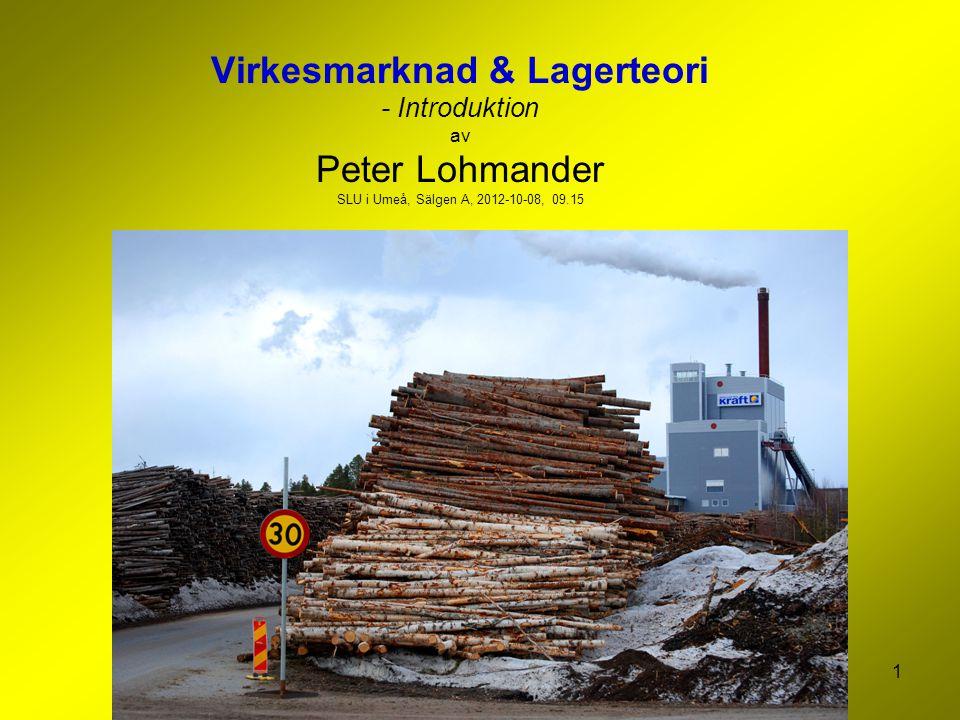 Virkesmarknad & Lagerteori