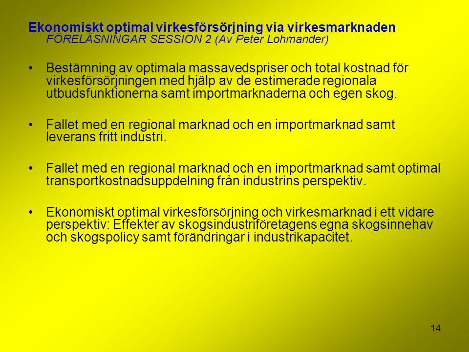 Ekonomiskt optimal virkesförsörjning via virkesmarknaden FÖRELÄSNINGAR SESSION 2 (Av Peter Lohmander)