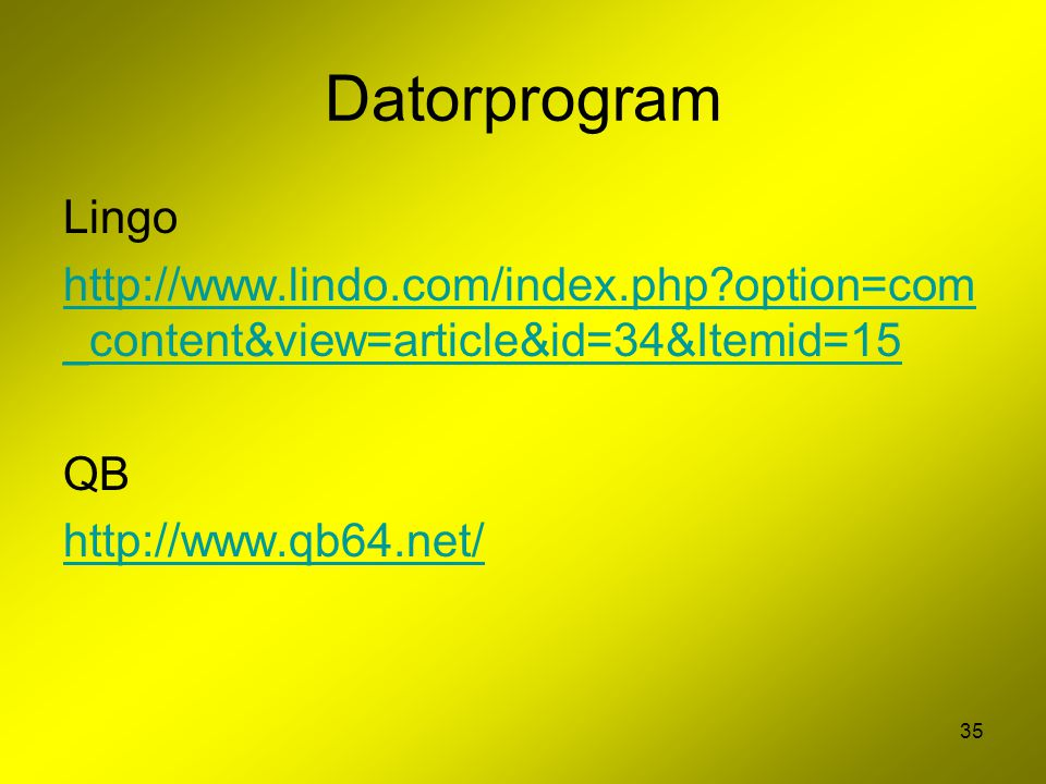 Datorprogram Lingo. http://www.lindo.com/index.php option=com_content&view=article&id=34&Itemid=15.