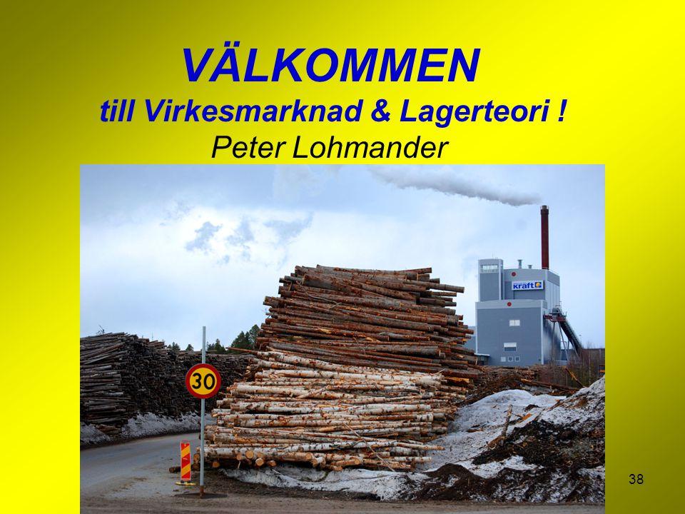 VÄLKOMMEN till Virkesmarknad & Lagerteori ! Peter Lohmander