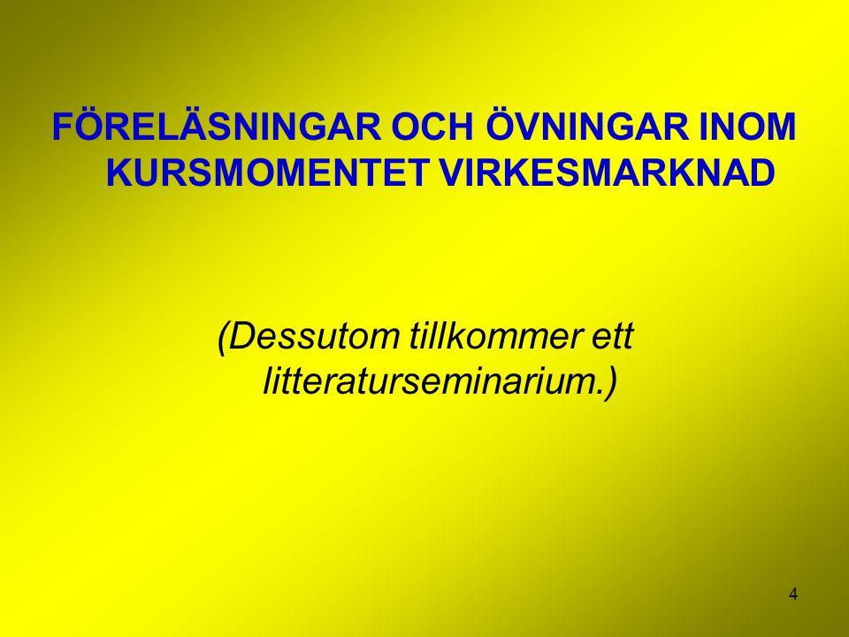 FÖRELÄSNINGAR OCH ÖVNINGAR INOM KURSMOMENTET VIRKESMARKNAD