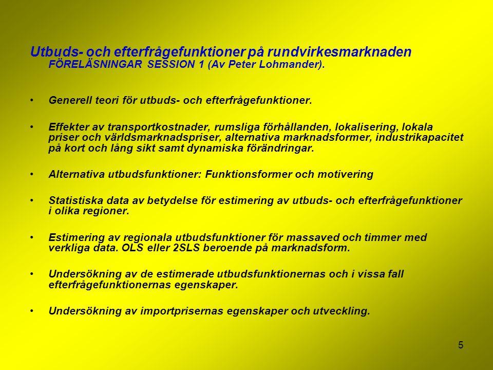 Utbuds- och efterfrågefunktioner på rundvirkesmarknaden FÖRELÄSNINGAR SESSION 1 (Av Peter Lohmander).
