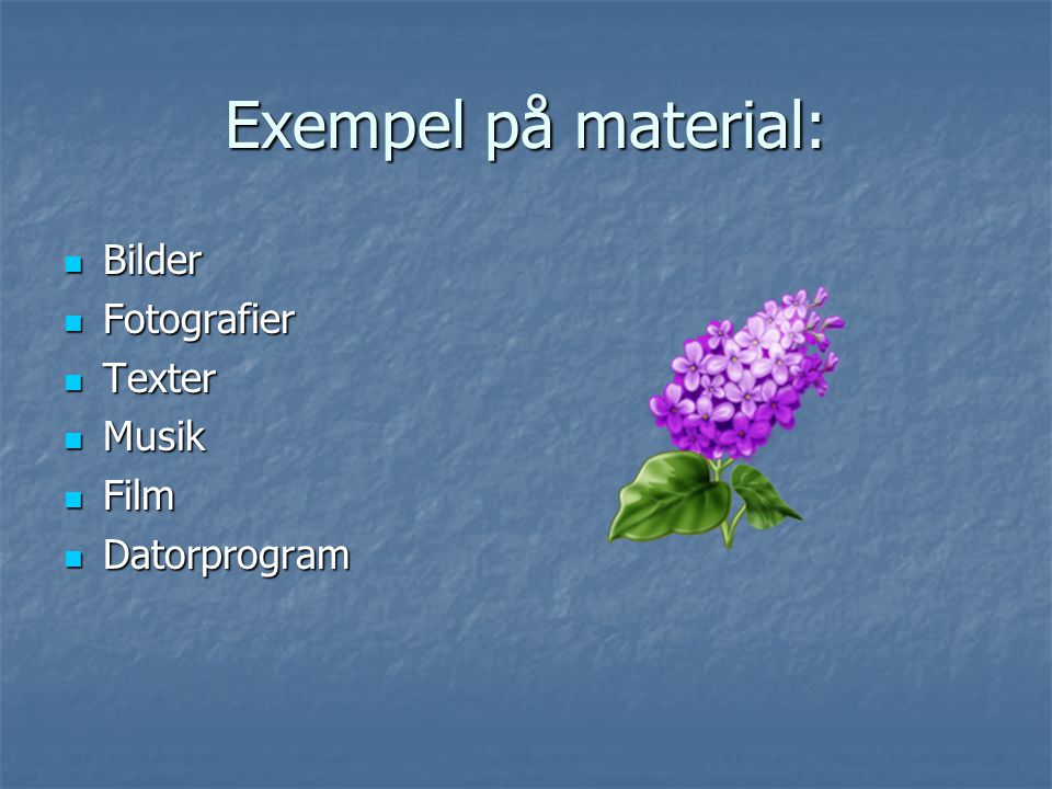 Exempel på material: Bilder Fotografier Texter Musik Film Datorprogram