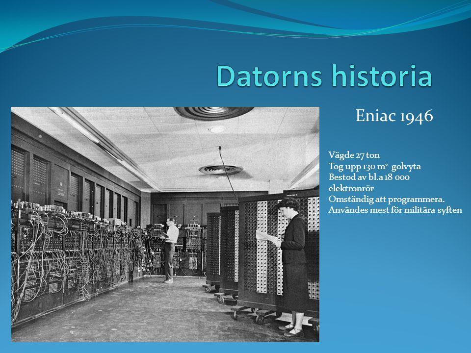 Datorns historia Eniac 1946 Vägde 27 ton Tog upp 130 m2 golvyta