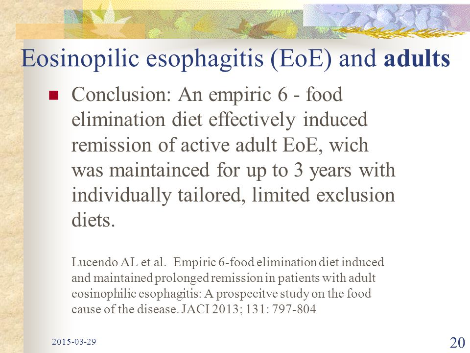 Eosinopilic esophagitis (EoE) and adults