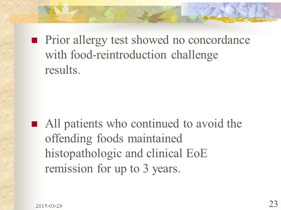 Prior allergy test showed no concordance with food-reintroduction challenge results.