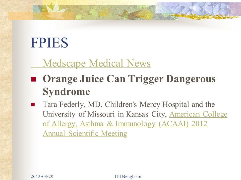 FPIES Medscape Medical News