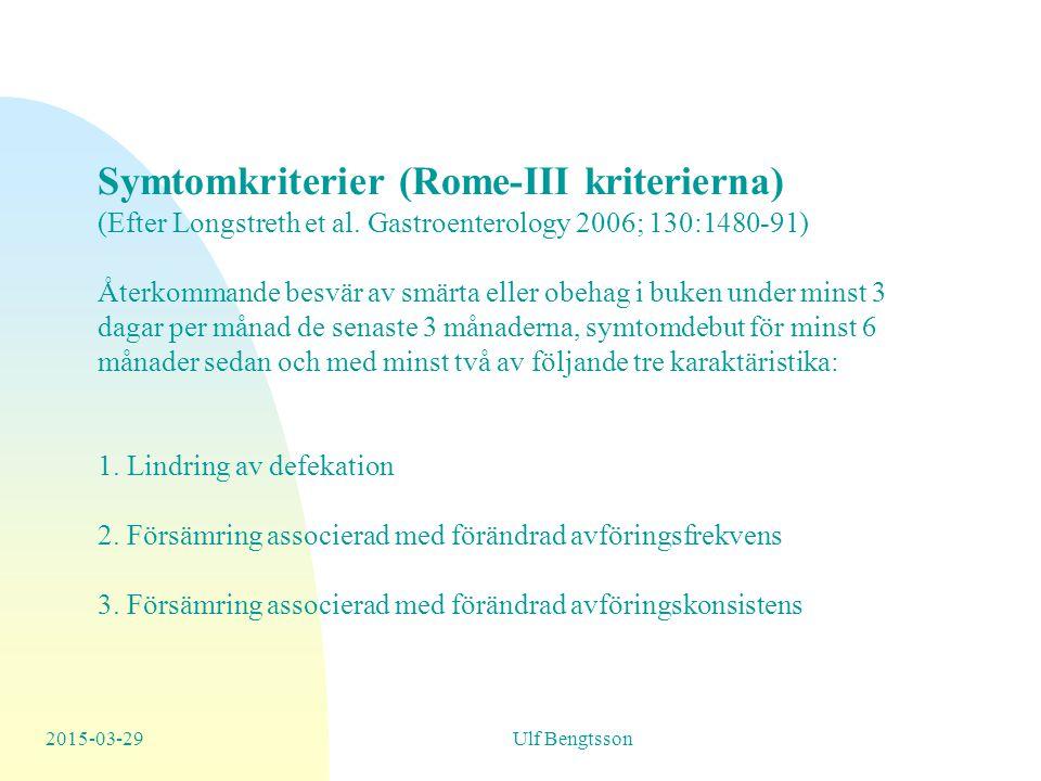 Symtomkriterier (Rome-III kriterierna)