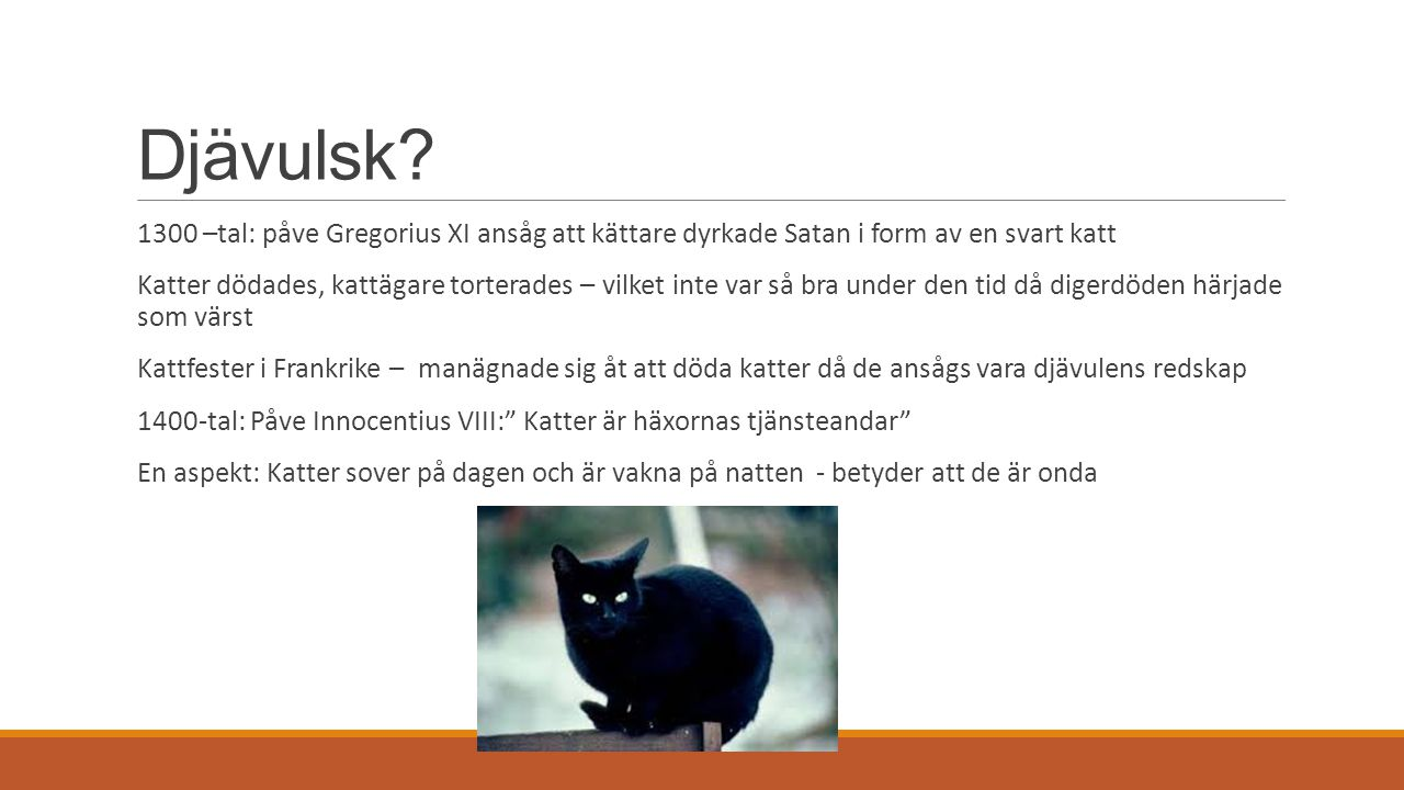 Djävulsk 1300 –tal: påve Gregorius XI ansåg att kättare dyrkade Satan i form av en svart katt.