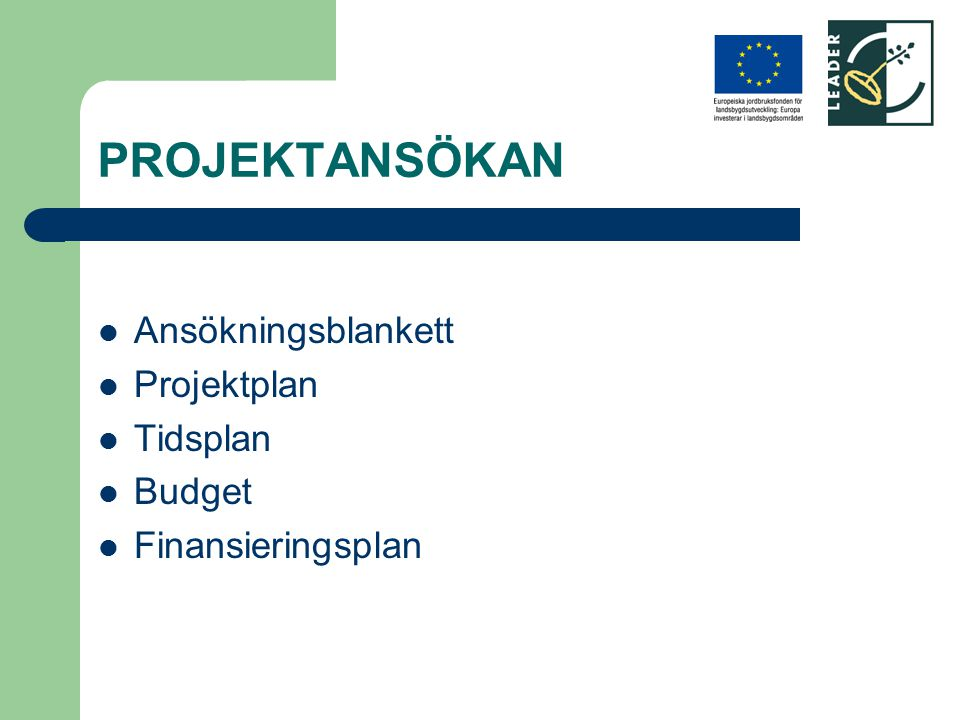 PROJEKTANSÖKAN Ansökningsblankett Projektplan Tidsplan Budget