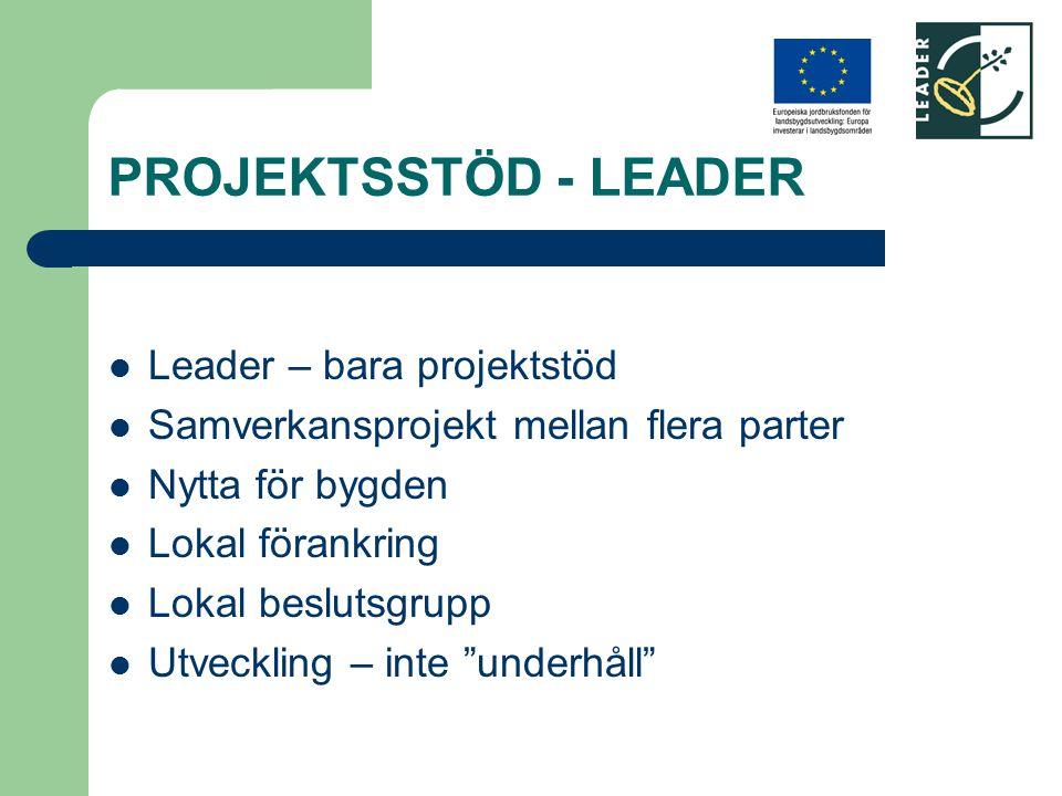 PROJEKTSSTÖD - LEADER Leader – bara projektstöd