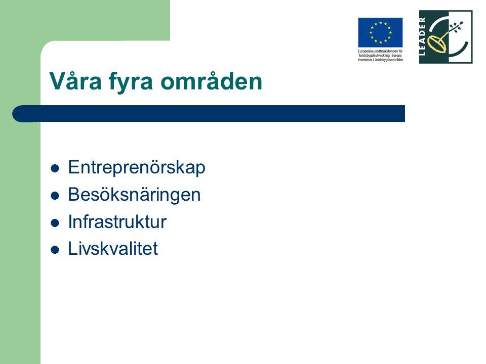 Våra fyra områden Entreprenörskap Besöksnäringen Infrastruktur