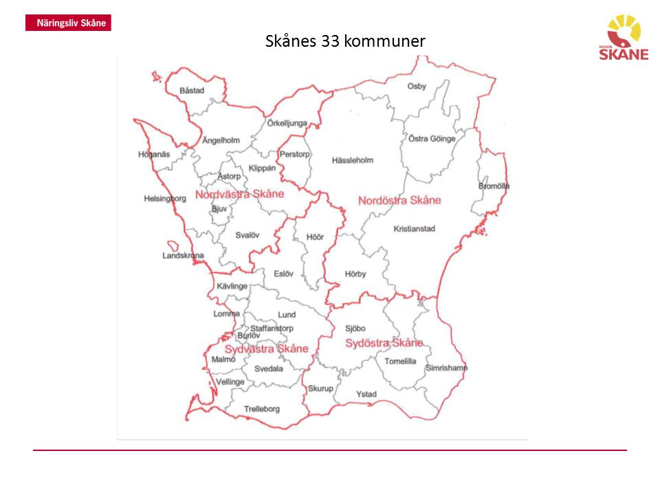Skånes 33 kommuner 33 kommuner och 4 delregioner