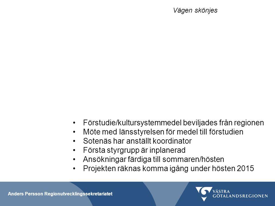Förstudie/kultursystemmedel beviljades från regionen