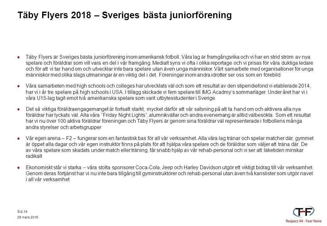 Täby Flyers 2018 – Sveriges bästa juniorförening