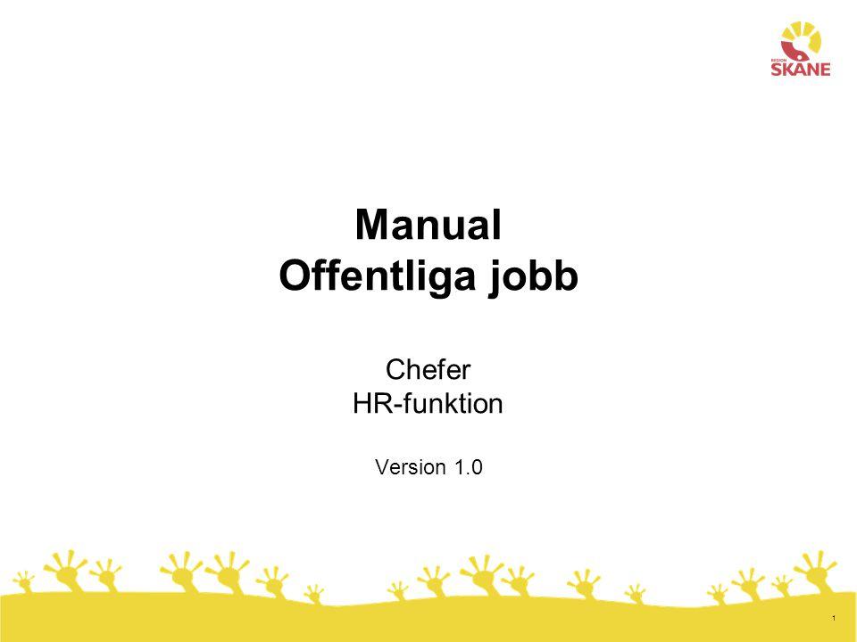 Manual Offentliga jobb Chefer HR-funktion Version 1.0