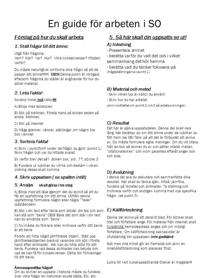 En guide för arbeten i SO