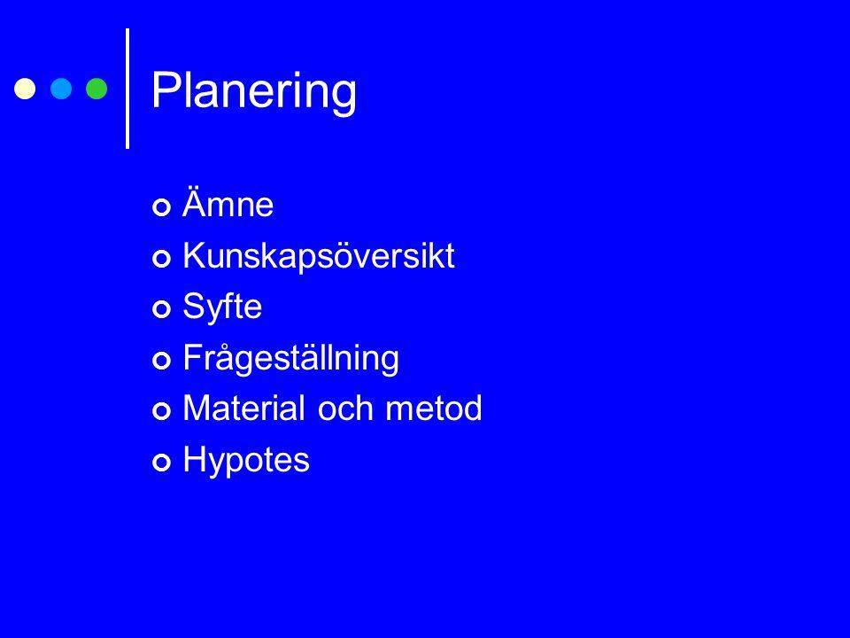 Planering Ämne Kunskapsöversikt Syfte Frågeställning
