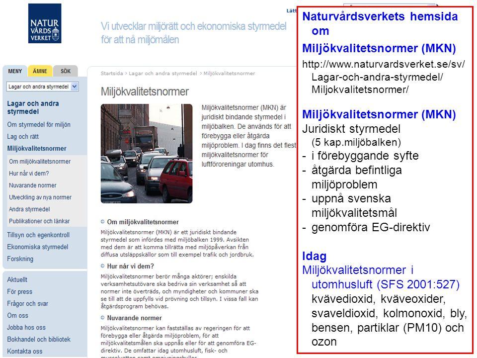 Naturvårdsverkets hemsida om Miljökvalitetsnormer (MKN)