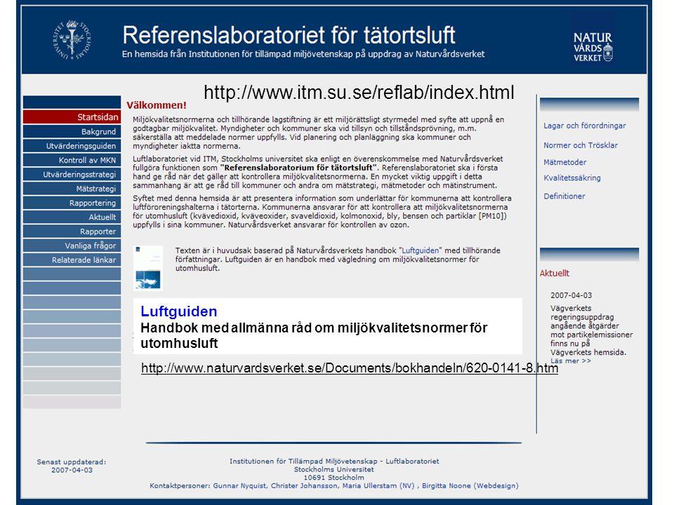 http://www.itm.su.se/reflab/index.html Luftguiden Handbok med allmänna råd om miljökvalitetsnormer för utomhusluft.