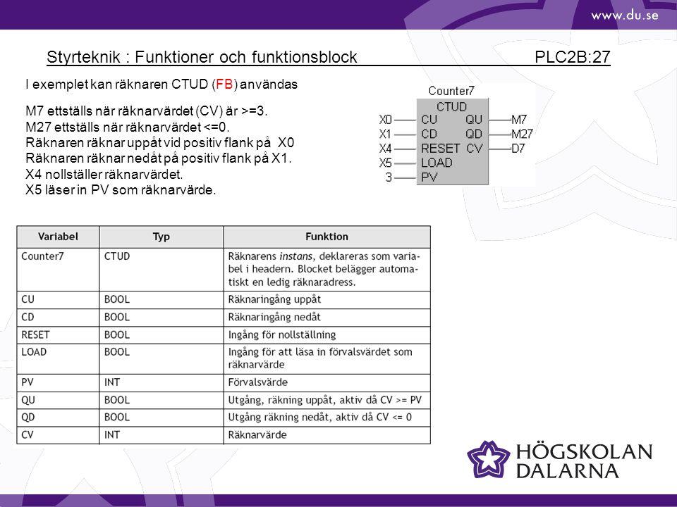 Styrteknik : Funktioner och funktionsblock PLC2B:27