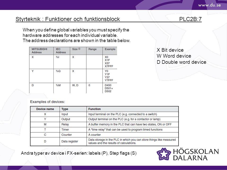Styrteknik : Funktioner och funktionsblock PLC2B:7