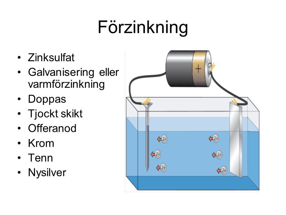 Förzinkning Zinksulfat Galvanisering eller varmförzinkning Doppas