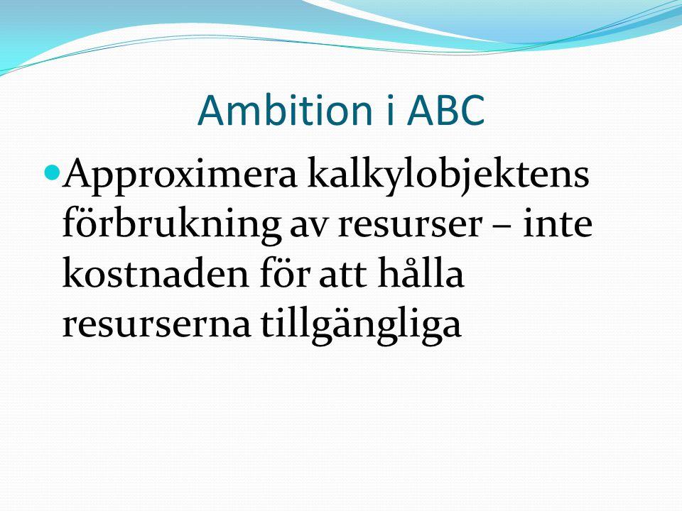 Ambition i ABC Approximera kalkylobjektens förbrukning av resurser – inte kostnaden för att hålla resurserna tillgängliga.