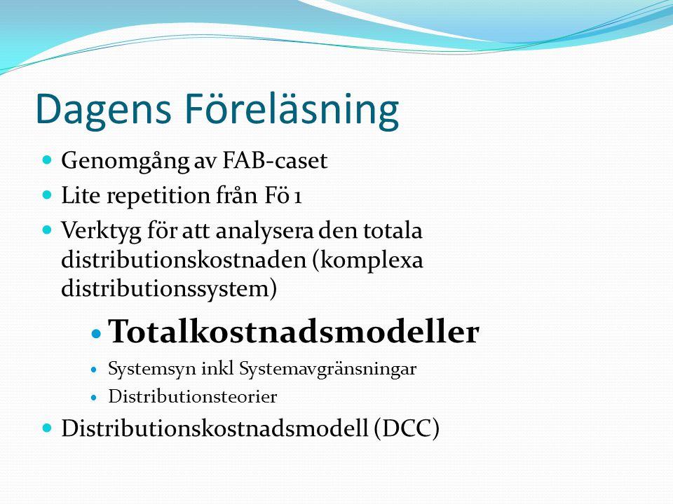 Dagens Föreläsning Totalkostnadsmodeller Genomgång av FAB-caset